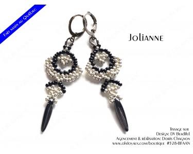 """Boucles d'oreilles """"Jolianne"""" de couleur argenté et noire"""
