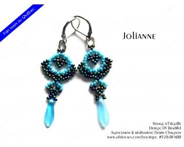 """Boucles d'oreilles """"Jolianne"""" de couleur marine et bleue"""