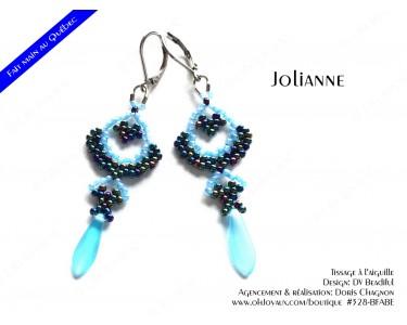 """Boucles d'oreilles """"Jolianne"""" de couleur bleue"""