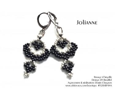 """Boucles d'oreilles """"Jolianne"""" de couleur noire et argenté"""