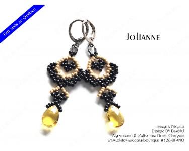 """Boucles d'oreilles """"Jolianne"""" de couleur noir et champagne"""