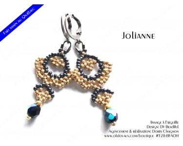 """Boucles d'oreilles """"Jolianne"""" de couleur champagne et hématite"""