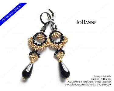 """Boucles d'oreilles """"Jolianne"""" de couleur doré et noire"""