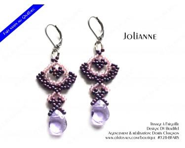 """Boucles d'oreilles """"Jolianne"""" de couleur bourgogne et rosé"""