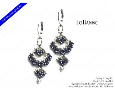 """Boucles d'oreilles """"Jolianne"""" de couleur hématite et argenté"""
