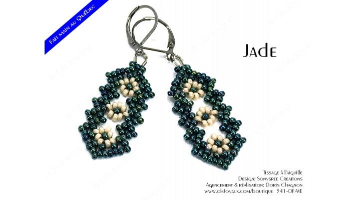 """Boucles d'oreilles """"Jade"""" en vert et crème"""