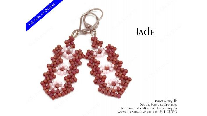 "Boucles d'oreilles ""Jade"" en bourgogne et rose"