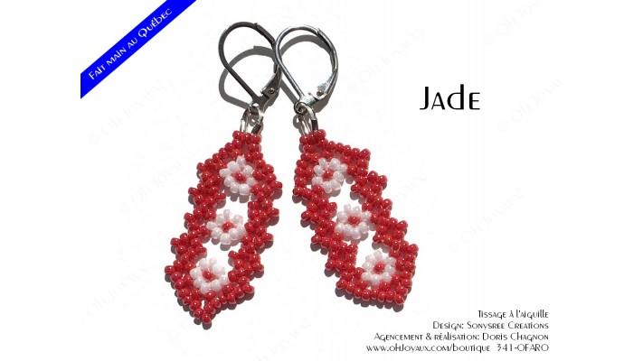 """Boucles d'oreilles """"Jade"""" en rouge et blanc"""