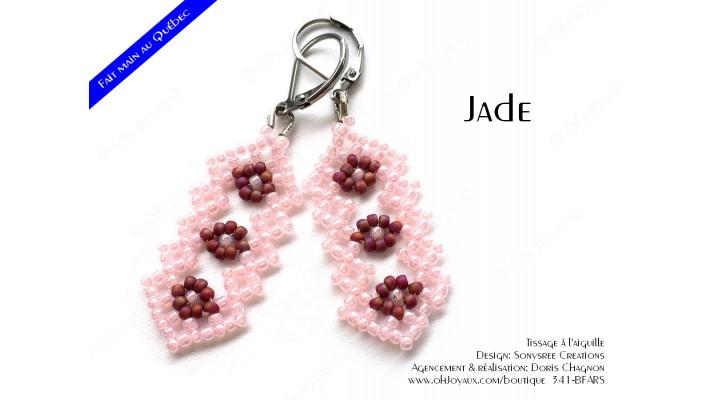 "Boucles d'oreilles ""Jade"" en rose et bourgogne"