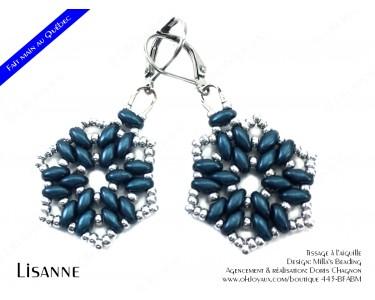 """Boucles d'oreilles """"Lisanne"""" en bleu denim et argenté"""