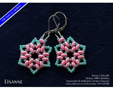 """Boucles d'oreilles """"Lisanne"""" en rose et turquoise"""
