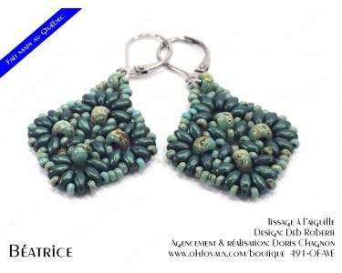 """Boucles d'oreilles """"Béatrice"""" en vert turquoise"""