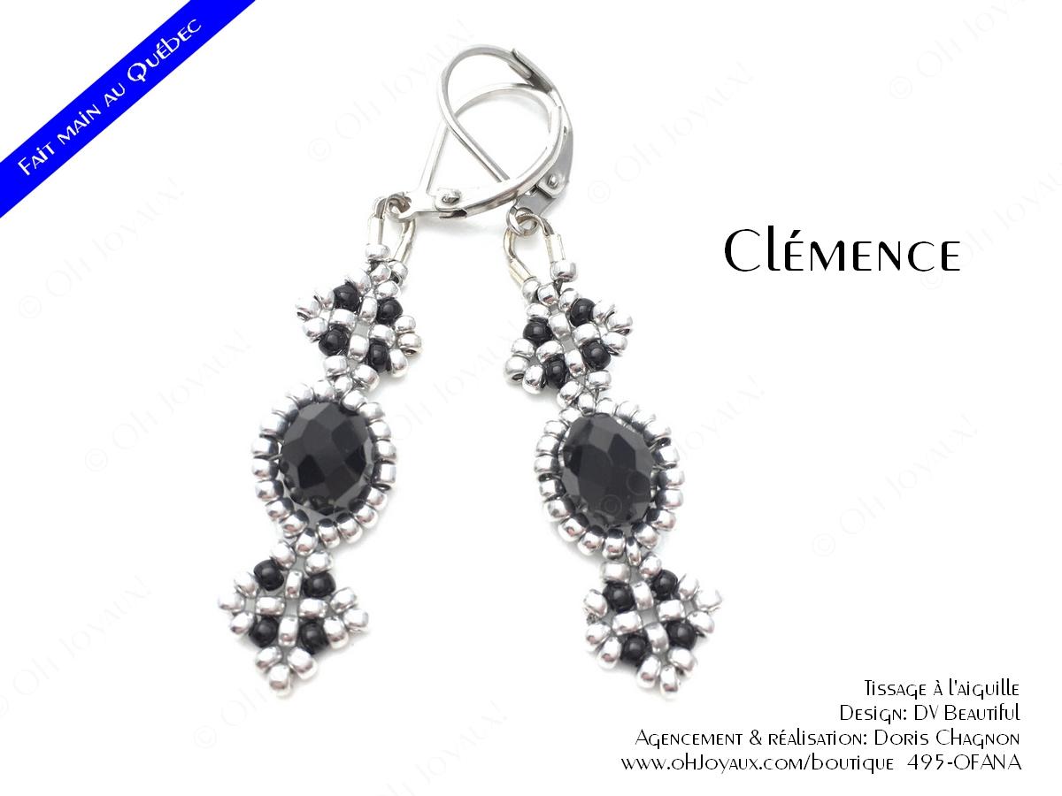"""Boucles d'oreilles """"Clémence"""" en noir et argenté"""