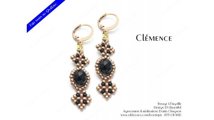 """Boucles d'oreilles """"Clémence"""" en noir et doré"""