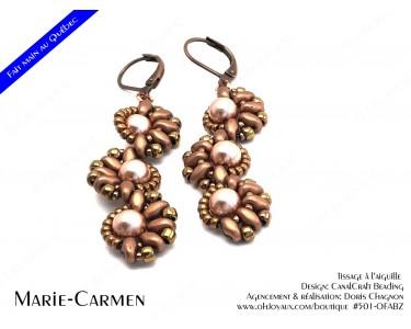 """Boucles d'oreilles """"Marie-Carmen"""" en teintes cuivrés et champagne"""