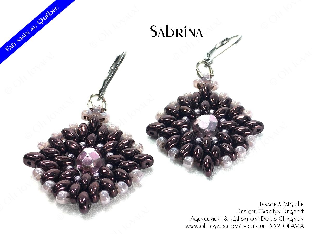"""Boucles d'oreilles """"Sabrina"""" de couleur magenta"""