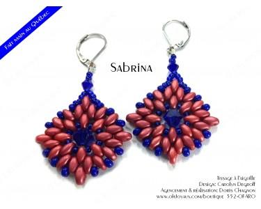 """Boucles d'oreilles """"Sabrina"""" en rouge et bleu"""