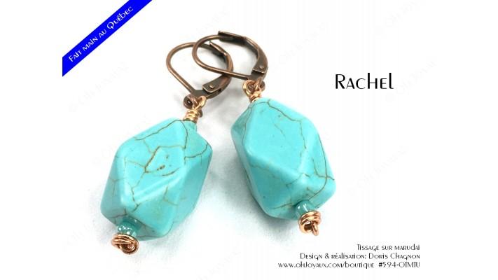 """Boucles d'oreilles """"Rachel"""" en turquoise et cuivré"""