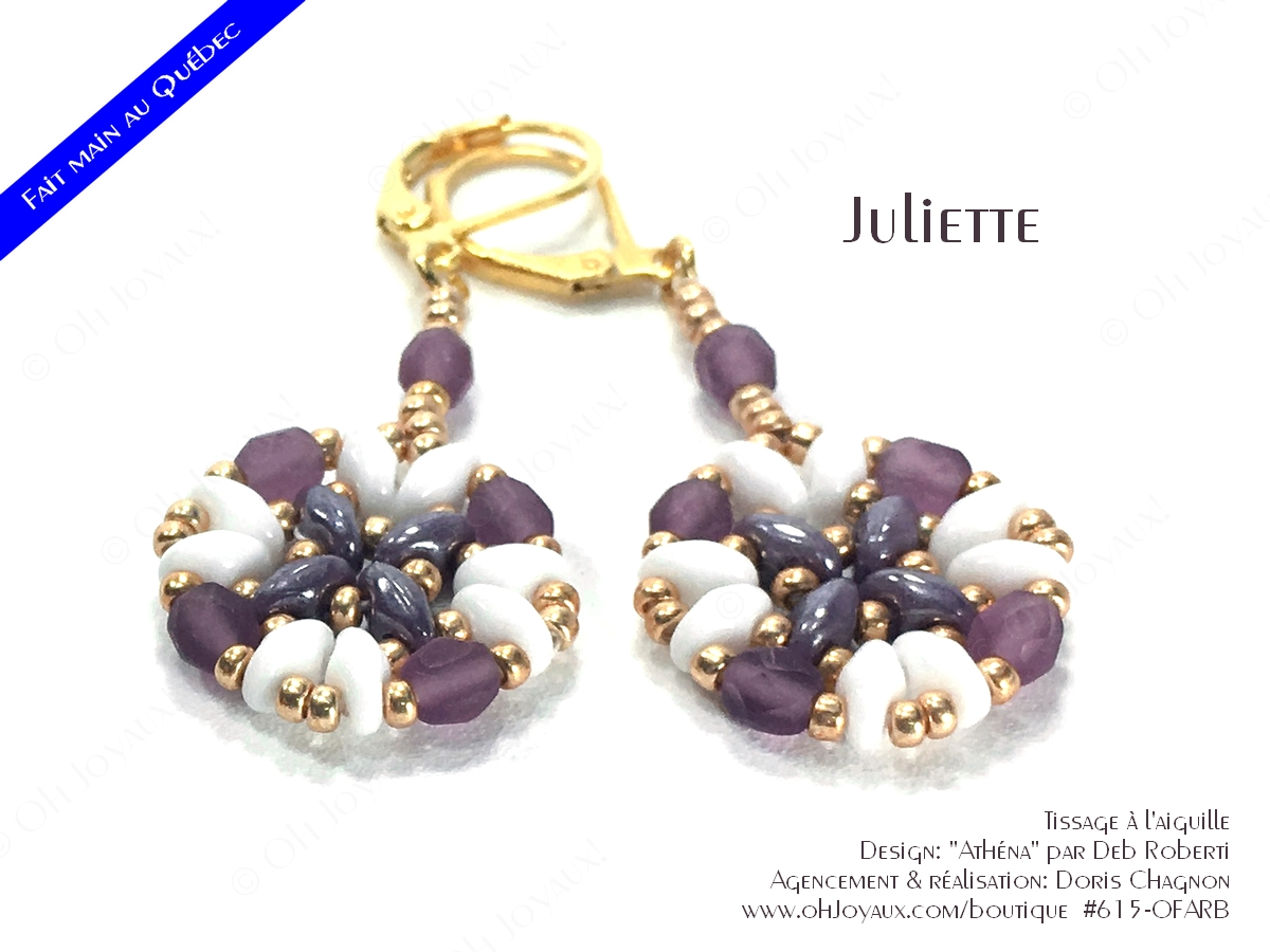 """Boucles d'oreilles """"Juliette"""" de couleur blanc, améthyste et doré"""