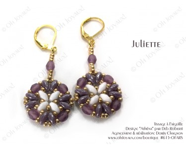 """Boucles d'oreilles """"Juliette"""" de couleur améthyste, blanc, et doré"""