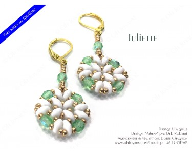"""Boucles d'oreilles """"Juliette"""" de couleur péridot, blanc, et doré"""