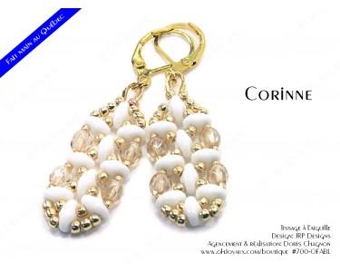 """Boucles d'oreilles """"Corinne"""" en blanc et doré"""