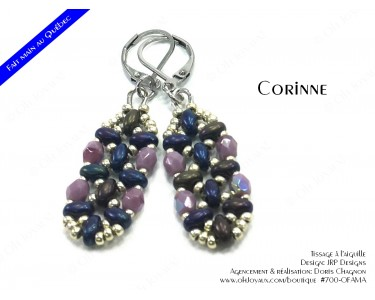 """Boucles d'oreilles """"Corinne"""" en prune mûre et argenté"""