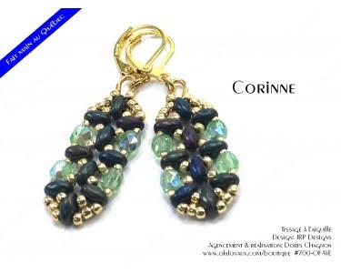 """Boucles d'oreilles """"Corinne"""" en vert irlandais et doré"""