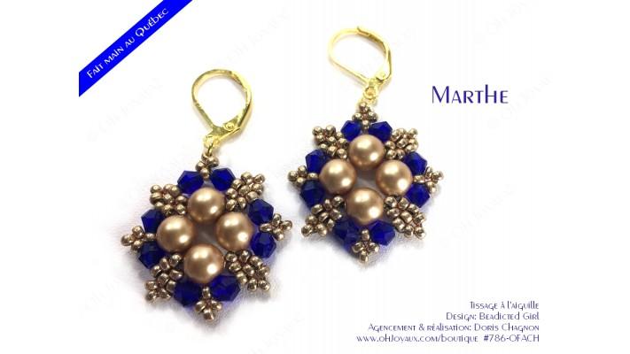 """Boucles d'oreilles """"Marthe"""" en champagne et cobalt"""