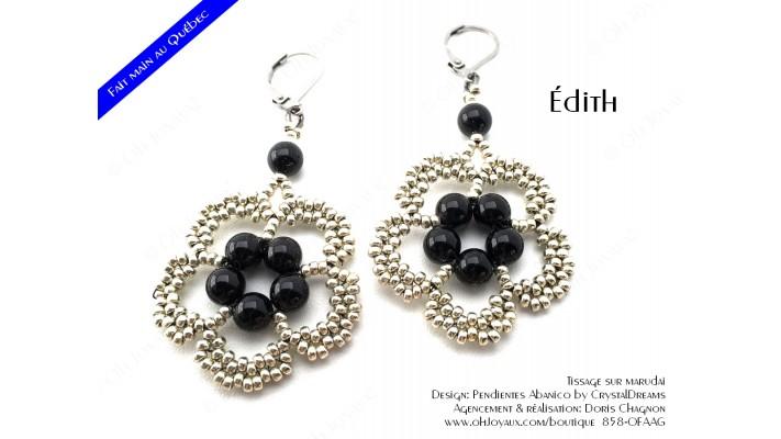 """Boucles d'oreilles """"Édith"""" de couleur noir et argenté"""