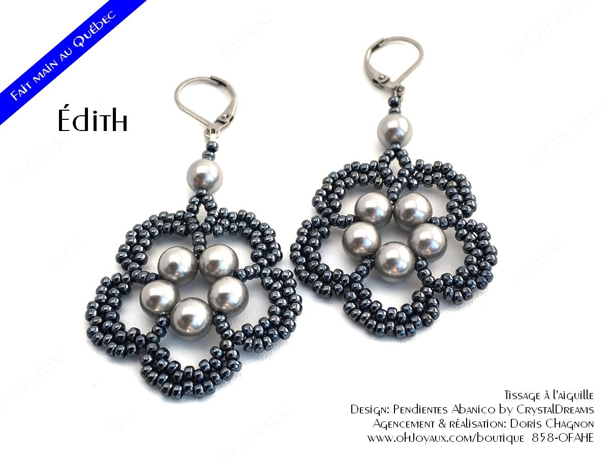 Boucles d'oreilles Édith de couleur argenté et hématite