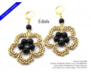 """Boucles d'oreilles """"Édith"""" de couleur noir et or"""
