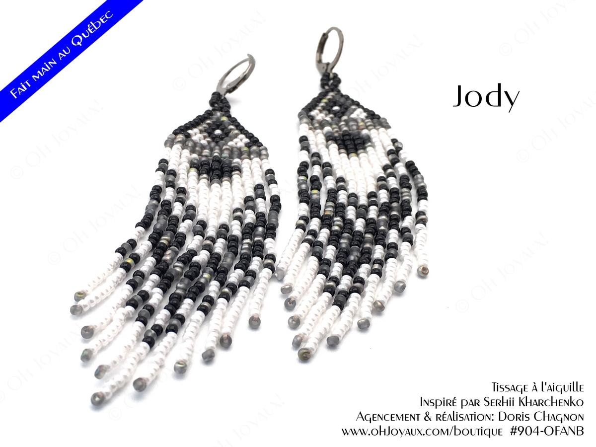 """Boucles d'oreilles """"Jody"""" en blanc, gris et noir"""