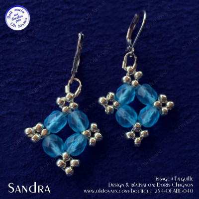 Boucles d'oreilles Sandra en aquamarine et argenté