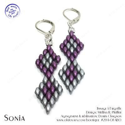 Boucles d'oreilles Sonia en bordeaux et argent