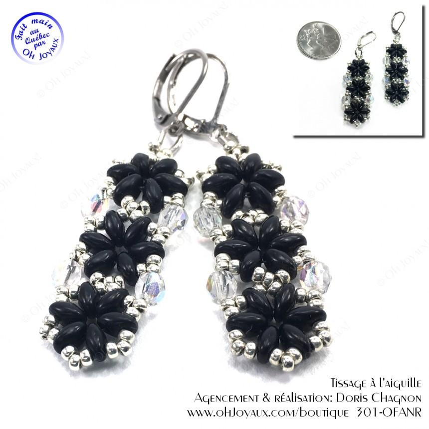 Boucles d'oreilles 3 hexagones en noir et argenté