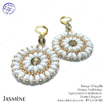 Boucles d'oreilles Jasmine en blanc et or