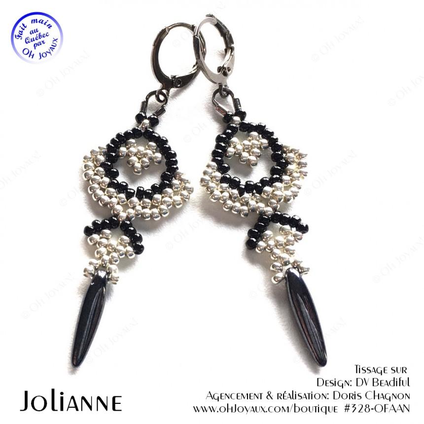 Boucles d'oreilles Jolianne de couleur argenté et noire