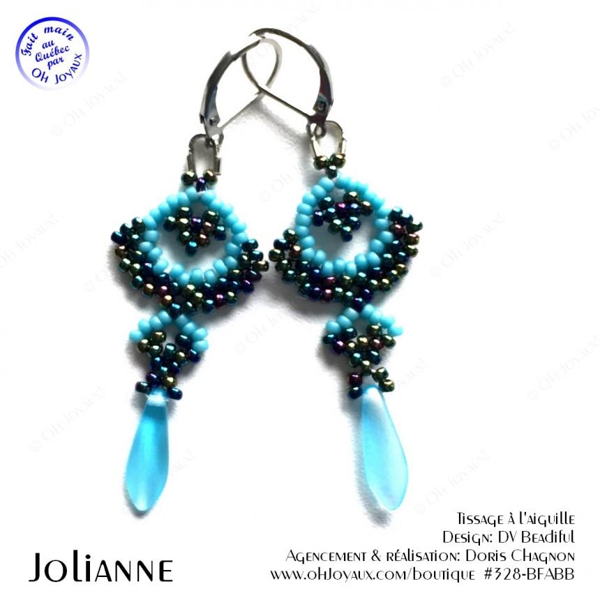 Boucles d'oreilles Jolianne de couleur marine et bleue