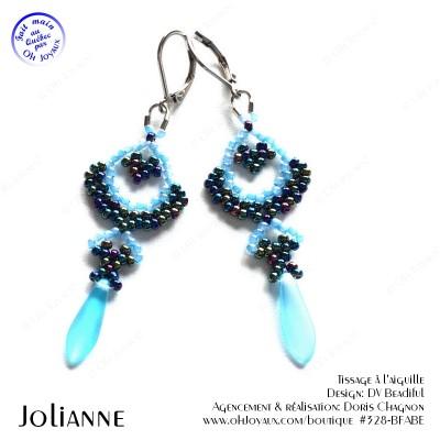 Boucles d'oreilles Jolianne de couleur bleue