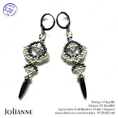 Boucles d'oreilles Jolianne de couleur hématite et argenté