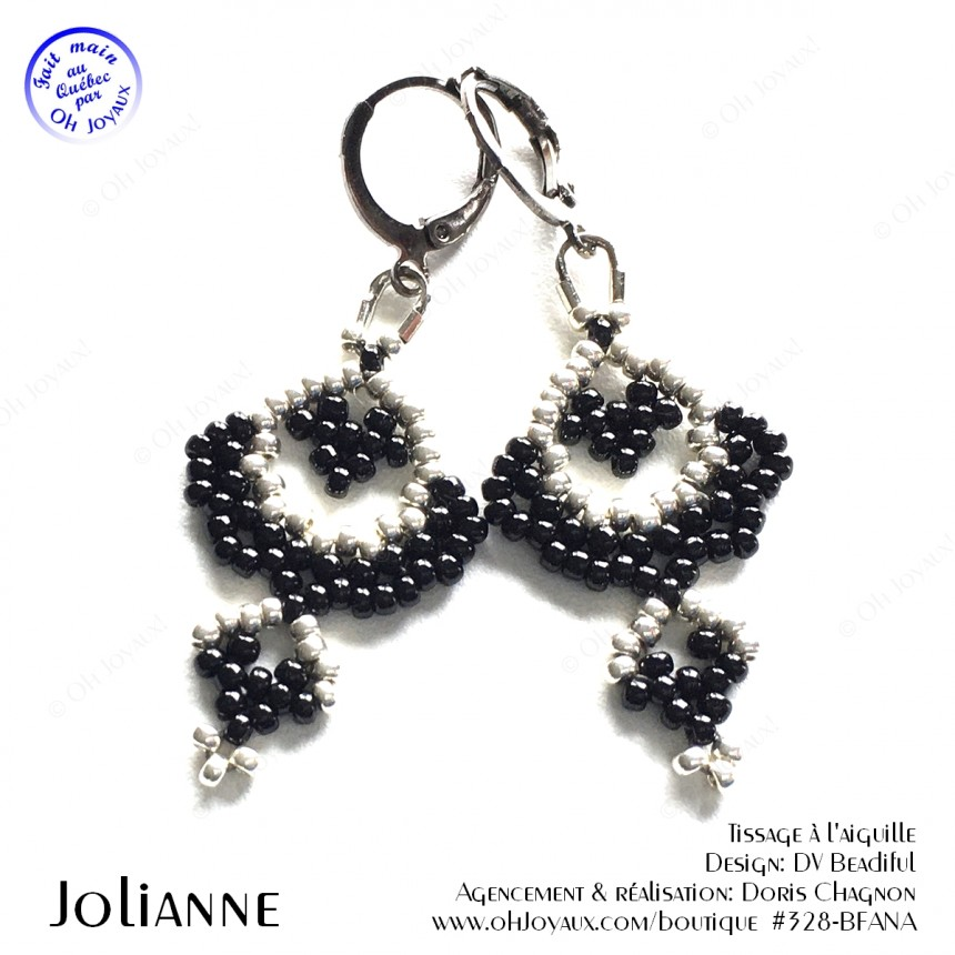 Boucles d'oreilles Jolianne de couleur noire et argenté