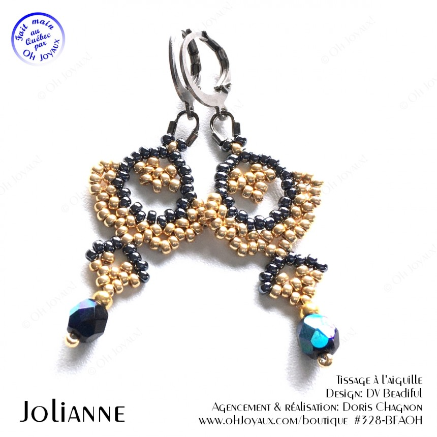 Boucles d'oreilles Jolianne de couleur noir et champagne