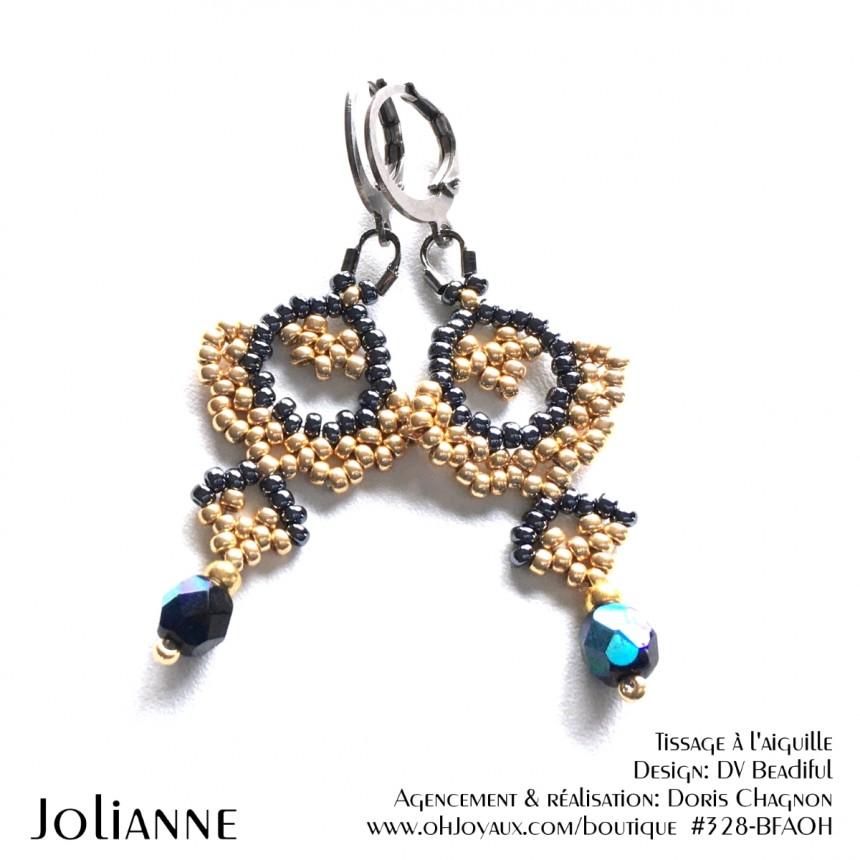 Boucles d'oreilles Jolianne de couleur champagne et hématite