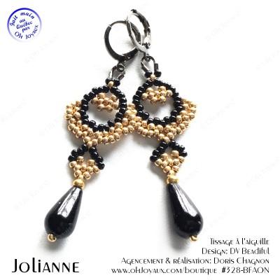 Boucles d'oreilles Jolianne de couleur doré et noire