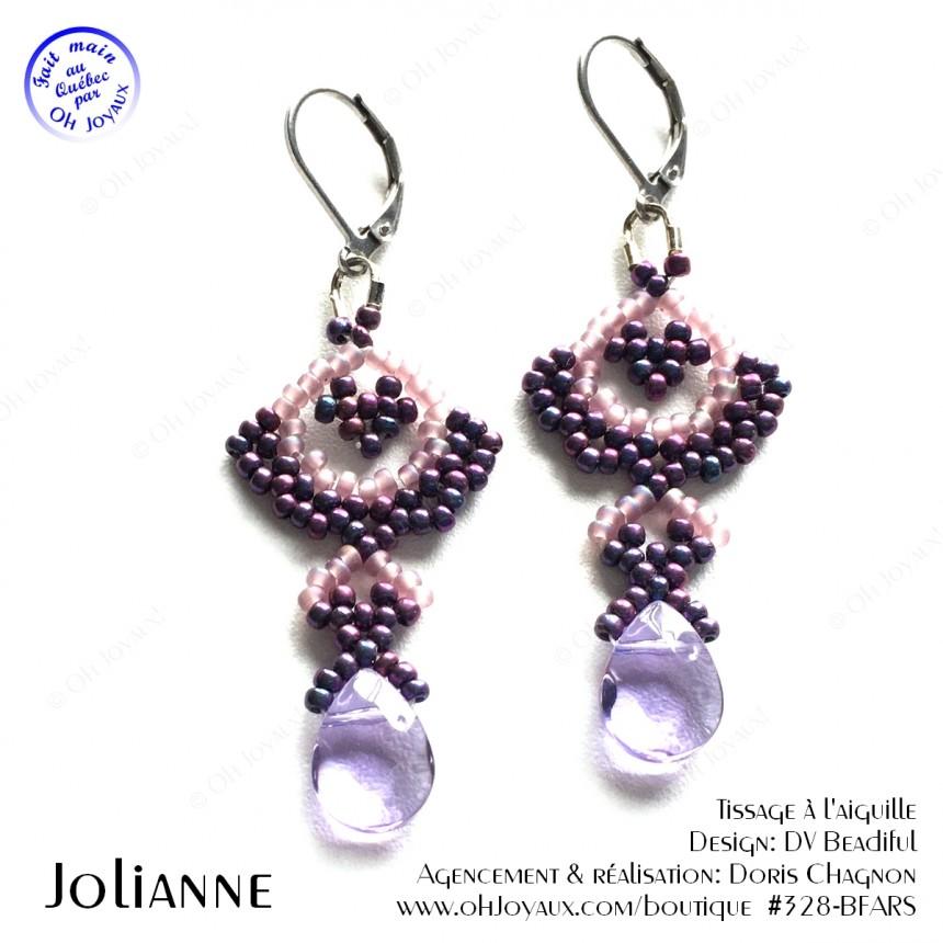 Boucles d'oreilles Jolianne de couleur bourgogne et rosé