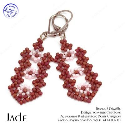 Boucles d'oreilles Jade en bourgogne et rose