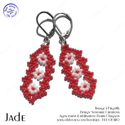 Boucles d'oreilles Jade en rouge et blanc