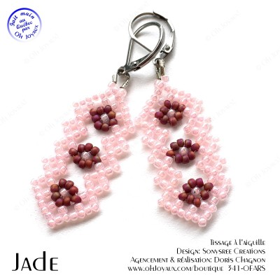 Boucles d'oreilles Jade en rose et bourgogne