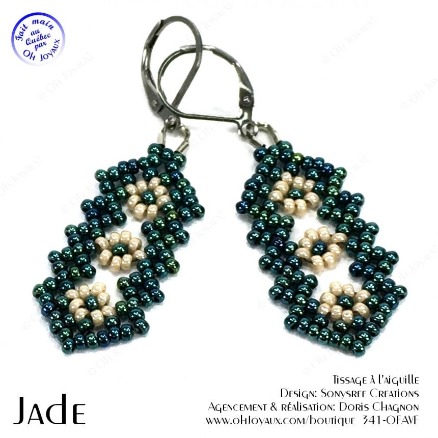 Boucles d'oreilles Jade en vert et crème